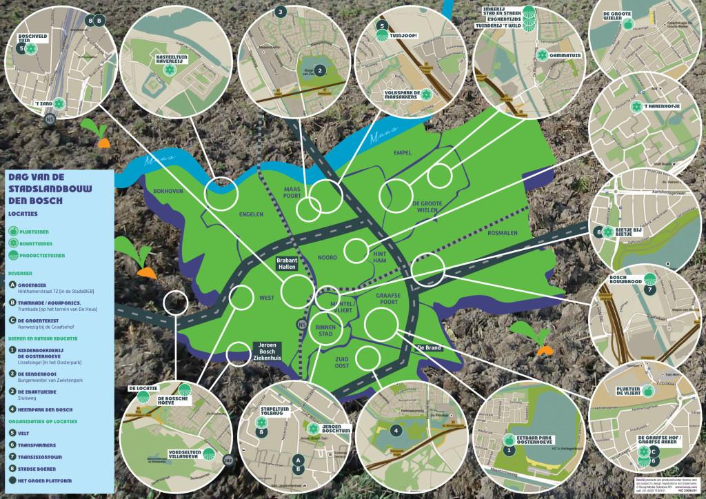 Plattegrond met Stadslandbouwinitiatieven in Den Bosch ter ondersteuning van de Nationale Dag van de Stadslandbouw 2015